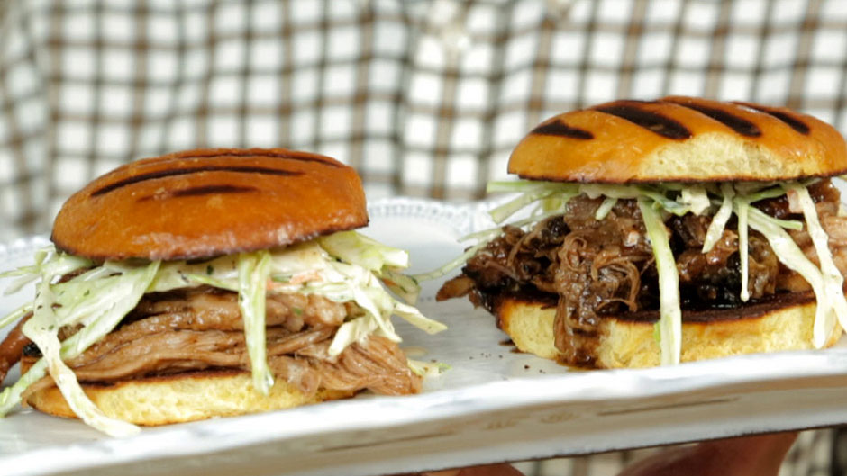 Pork Shoulder Sandwiches with BBQ Sauce and Coleslaw